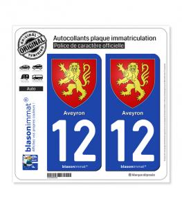 12 Aveyron - Armoiries | Autocollant plaque immatriculation