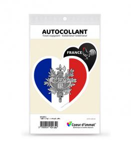 France - Armoiries Drapées | Autocollant Coeur j'aime