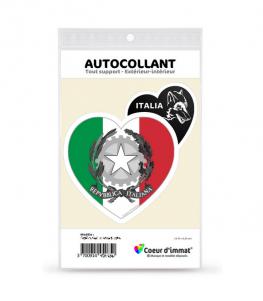 Italie - Armoiries Drapées | Autocollant Coeur j'aime