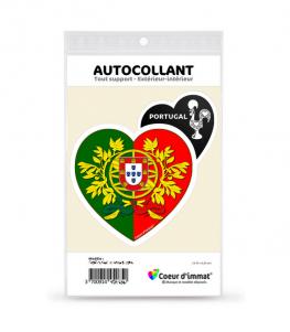 Portugal - Armoiries Drapées | Autocollant Coeur j'aime