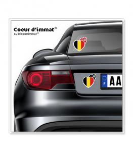 Belgique - Drapée | Autocollant Coeur j'aime sur véhicule