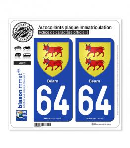 64 Béarn - Armoiries | Autocollant plaque immatriculation