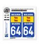 64 Béarn - Drapeau | Autocollant plaque immatriculation