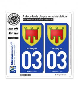 03 Auvergne - Armoiries | Autocollant plaque immatriculation