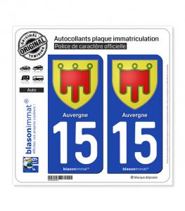 15 Auvergne - Armoiries | Autocollant plaque immatriculation