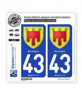 43 Auvergne - Armoiries | Autocollant plaque immatriculation