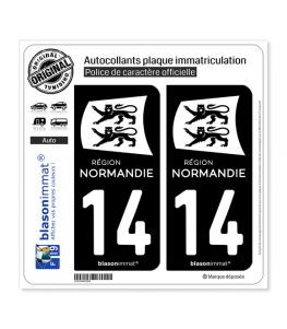 14 Normandie - LogoType Black | Autocollant plaque immatriculation