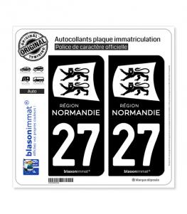 27 Normandie - LogoType Black | Autocollant plaque immatriculation