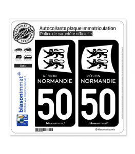 50 Normandie - LogoType Black | Autocollant plaque immatriculation