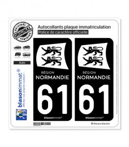 61 Normandie - LogoType Black | Autocollant plaque immatriculation
