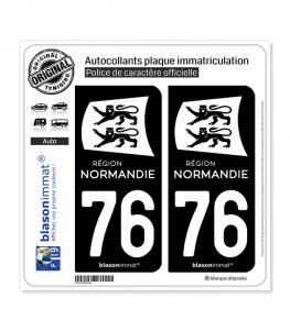 76 Normandie - LogoType Black | Autocollant plaque immatriculation