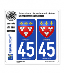 45 Orléans - Armoiries | Autocollant plaque immatriculation