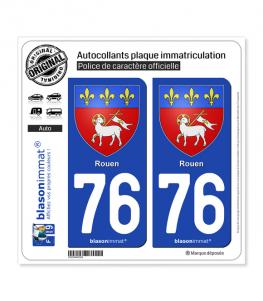 76 Rouen - Armoiries | Autocollant plaque immatriculation