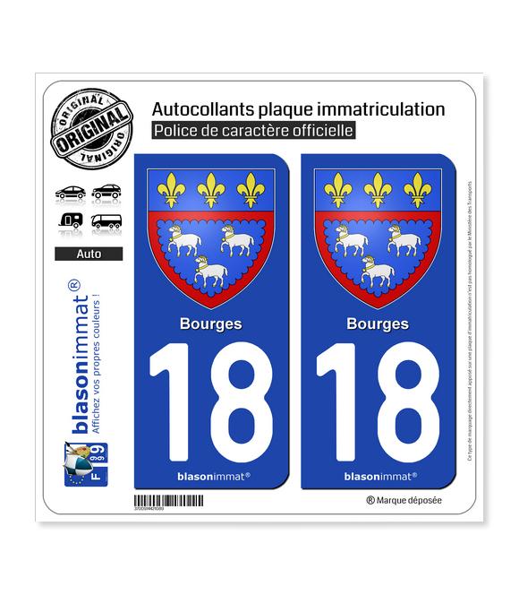 18 Bourges - Armoiries | Autocollant plaque immatriculation