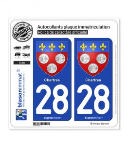 28 Chartres - Armoiries | Autocollant plaque immatriculation