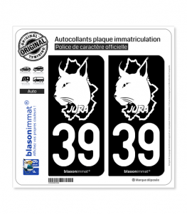 39 Jura - Authentique   Autocollant plaque immatriculation