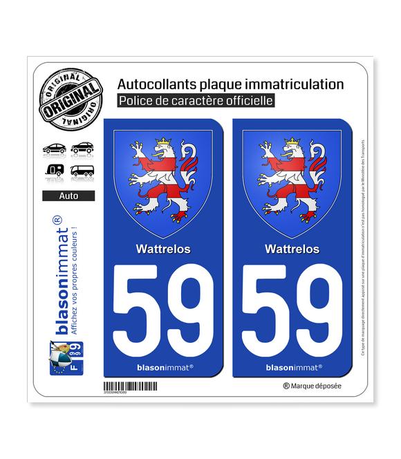 59 Wattrelos - Armoiries | Autocollant plaque immatriculation
