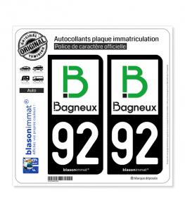 92 Bagneux - Ville | Autocollant plaque immatriculation