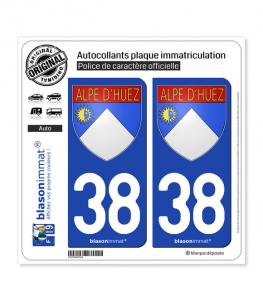 38 Alpe d'Huez - Armoiries   Autocollant plaque immatriculation (Fond Bleu)