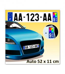 Plaque d'immatriculation Plexi AUTO 52 x 11 cm (Identifiants Bleu)