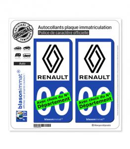 Renault - 2021   Autocollant plaque immatriculation (Fond Bleu)