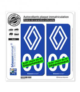 Renault - 2021 Blanc   Autocollant plaque immatriculation (Fond Bleu)