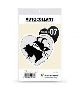 Ardèche - Authentique   Autocollant Coeur j'aime (noir)