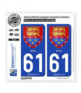 61 Orne - Armoiries   Autocollant plaque immatriculation