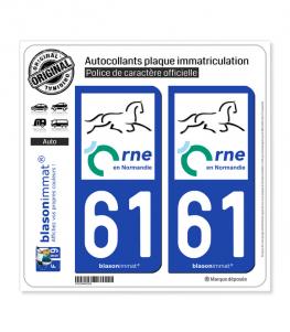 61 Orne - Département   Autocollant plaque immatriculation