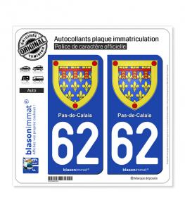 62 Pas-de-Calais - Armoiries | Autocollant plaque immatriculation