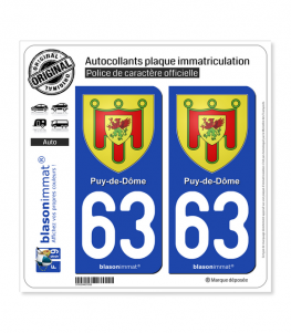 63 Puy-de-Dôme - Armoiries | Autocollant plaque immatriculation