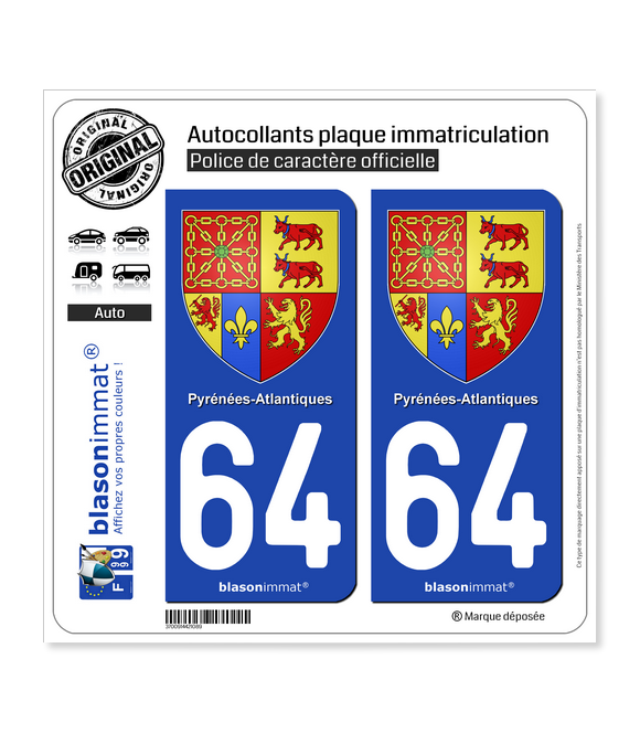 64 Pyrénées-Atlantiques - Armoiries | Autocollant plaque immatriculation