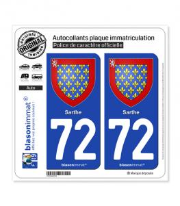 72 Sarthe - Armoiries | Autocollant plaque immatriculation (fond bleu)