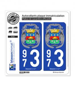973 Guyane - Armoiries-II | Autocollant plaque immatriculation