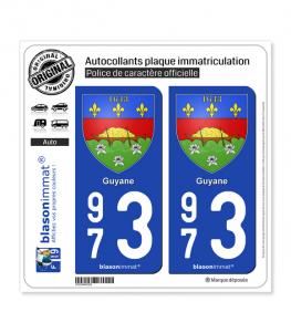 973 Guyane - Armoiries | Autocollant plaque immatriculation