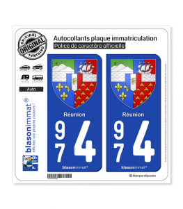 974 Réunion - Armoiries | Autocollant plaque immatriculation