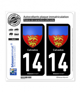 14 Calvados - Armoiries | Autocollant plaque immatriculation
