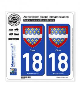 18 Cher - Armoiries | Autocollant plaque immatriculation