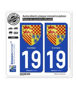 19 Corrèze - Armoiries | Autocollant plaque immatriculation