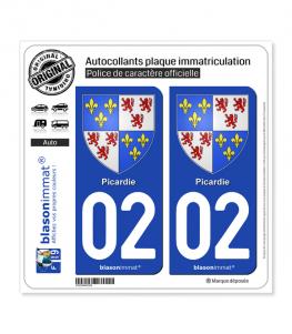 02 Picardie - Armoiries | Autocollant plaque immatriculation