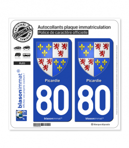 80 Picardie - Armoiries | Autocollant plaque immatriculation