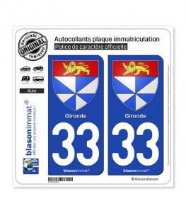 33 Gironde - Armoiries | Autocollant plaque immatriculation