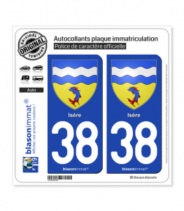 38 Isère - Armoiries | Autocollant plaque immatriculation