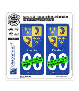 Dauphiné - Armoiries | Autocollant plaque immatriculation (fond bleu)