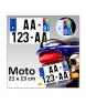 Plaque d'immatriculation Plexi MOTO & CYCLO 21 x 13 cm (Identifiants Bleu)