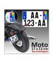 Plaque d'immatriculation Plexi MOTO & CYCLO 17 x 13 cm (Identifiants Bleu)