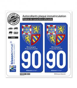 90 Bourgogne-Franche-Comté - Armoiries   Autocollant plaque immatriculation