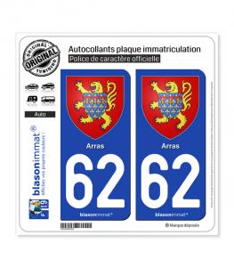 62 Arras - Armoiries | Autocollant plaque immatriculation (Fond bleu)