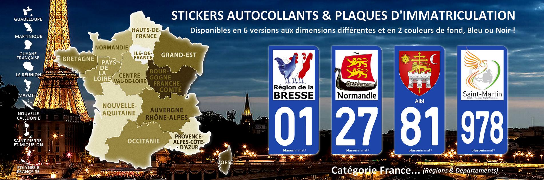 Autocollant et plaque d'immatriculation - Catégorie Régions et Départements de France